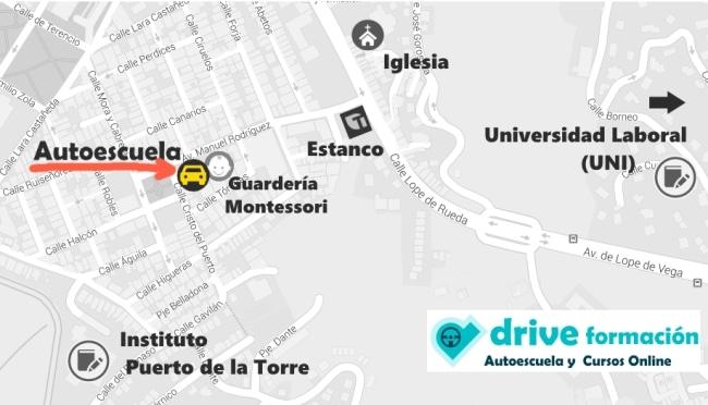 Mapa autoescuela drive formacion puerto de la torre